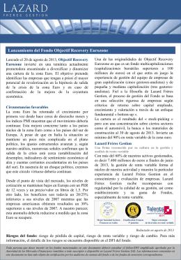 Lanzamiento del Fondo Objectif Recovery Eurozone