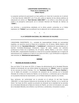 LINDISFARNE INVESTMENTS, S.L. Paseo de la