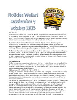 Del Director Bienvenido a la familia de la Escuela de Waller! Me