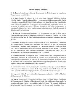 REUNIONES DE TRABAJO 20 de Enero: Reunión de trabajo del