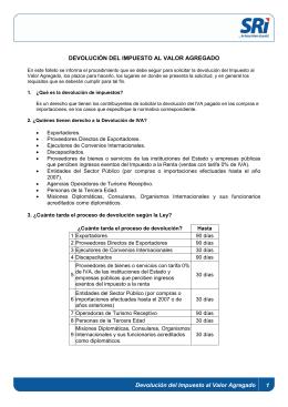 DEVOLUCIÓN DEL IMPUESTO AL VALOR AGREGADO