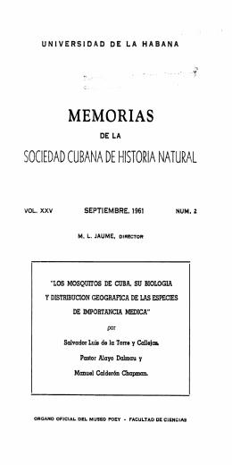 Los mosquitos de Cuba, su biologia y distribucion geografica de las
