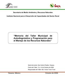 """""""Memoria del Taller Municipal de Autodiagnóstico y Programación"""