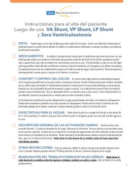 Instrucciones para el alta del paciente Luego de una VA Shunt, VP