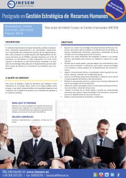 Postgrado en Gestión Estratégica de Recursos Humanos
