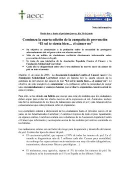 Nota de prensa - Asociación Española Contra el Cáncer