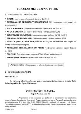 CIRCULAR MES DE JUNIO DE 2013 Obras sociales CUIDEMOS