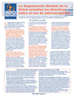 La OMS sctualiza las directivas sobre el uso de anticonceptivos