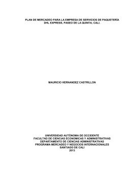 plan de mercadeo para la empresa de servicios de paquetería dhl