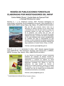 reseña de publicaciones forestales elaboradas por investigadores