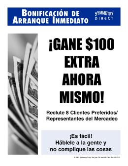 BONIFICACIÓN DE ARRANQUE INMEDIATO