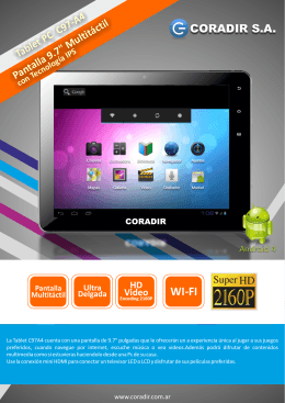 "Tablet PC C97-A4 Pantalla 9.7"" Multitáctil con"