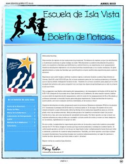 April 2013 Newsletter SPANISH