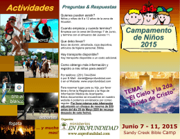 Folleto del Campamento - Ministerios EN PROFUNDIDAD