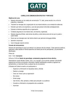 CURSILLO DE COMUNICACIÓN EFECTIVA Y PORTAVOZ