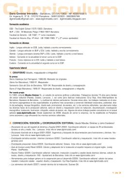 Formación académica Formación en idiomas Experiencia laboral 1