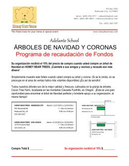 Adelante School ÁRBOLES DE NAVIDAD Y CORONAS Programa