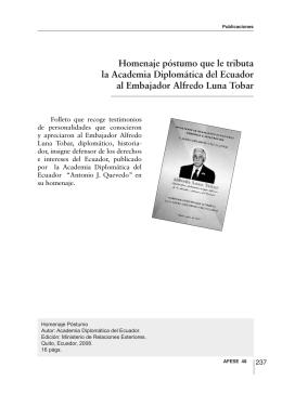 Homenaje póstumo que le tributa la Academia Diplomática del