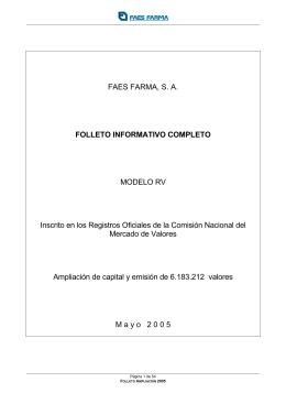 FAES FARMA, SA FOLLETO INFORMATIVO COMPLETO MODELO