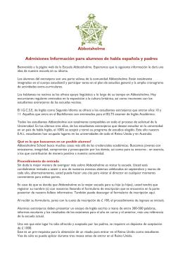 Abbotsholme Admisiones Información para alumnos de habla