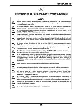 TORNADO T9 Instrucciones de Funcionamiento y