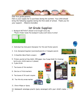 1st Grade Supplies List