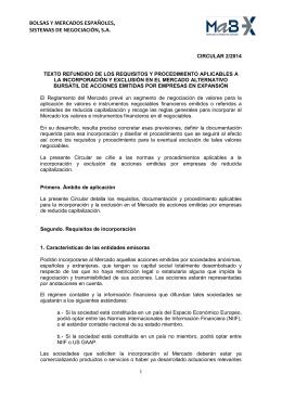 texto refundido de los requisitos y procedimiento aplicables a la