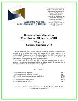 Boletín informativo de la Comisión de Biblioteca, ANIH