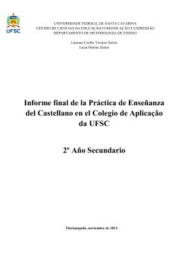 Informe final de la Práctica de Enseñanza del Castellano en el