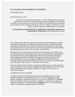 EL LUGAR DE LOS VALORES EN LA POLÍTICA