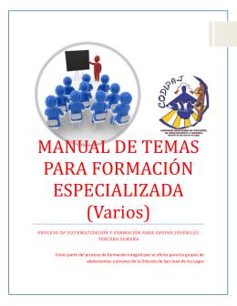 MANUAL DE TEMAS PARA FORMACIÓN ESPECIALIZADA (Varios)
