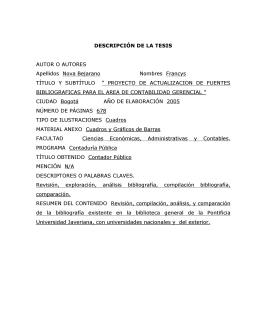 - 1 - DESCRIPCIÓN DE LA TESIS AUTOR O AUTORES Apellidos