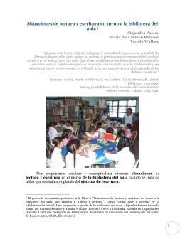 Situaciones de lectura y escritura en torno a la biblioteca del aula 1