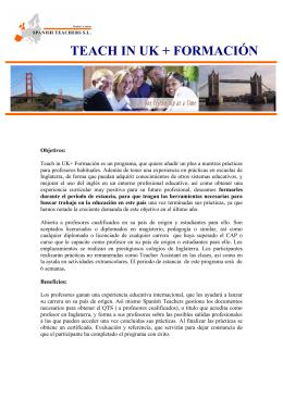 Folleto informativo TEACH IN UK + FORMACIÓN 2014