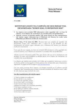 Nota de Prensa Press Release - Sala de prensa