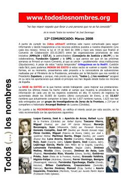 12º COMUNICADO: Marzo 2008