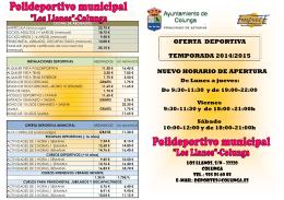 nuevo horario de apertura oferta deportiva temporada 2014/2015