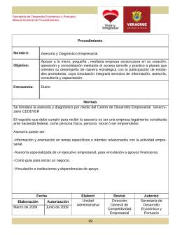 Procedimiento Nombre: Asesoría y Diagnóstico Empresarial