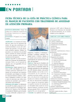 ficha técnica de la guía de práctica clínica para el manejo de