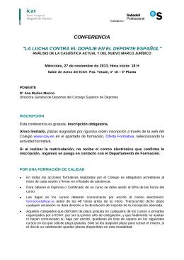 """conferencia """"la lucha contra el dopaje en el deporte español"""""""