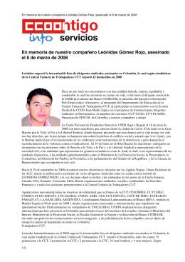 En memoria de nuestro compañero Leónidas Gómez