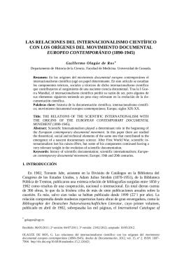 las relaciones del internacionalismo científico con los orígenes del