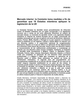 la Comisión toma medidas a fin de garantizar que 19