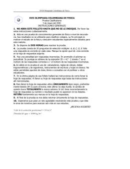 XVII Olimpiada Colombiana de Física. Prueba Clasificatoria 2001.
