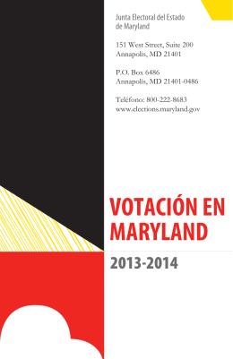 VOTACIÓN EN MARYLAND - Maryland State Board of Elections