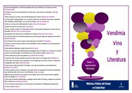 Vino Literatura y Vendimia - Red de Bibliotecas de Castilla