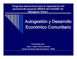 Autogestión y Desarrollo Económico Comunitario