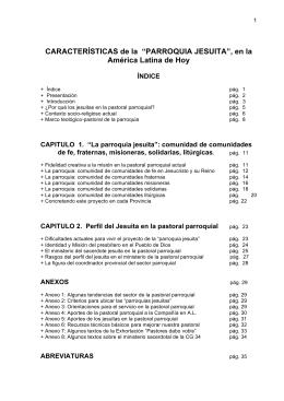 """CARACTERÍSTICAS de la """"PARROQUIA JESUITA"""", en la"""