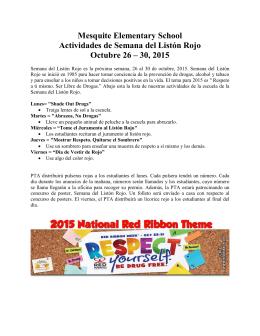 Mesquite Elementary School Actividades de Semana del Listón