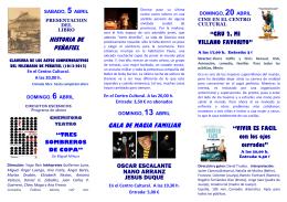 Díptico Abril 2014. Centro Cultural de Peñafiel